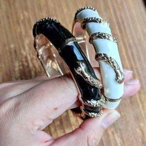2 snake enamel hinge black & white bangle bracelet